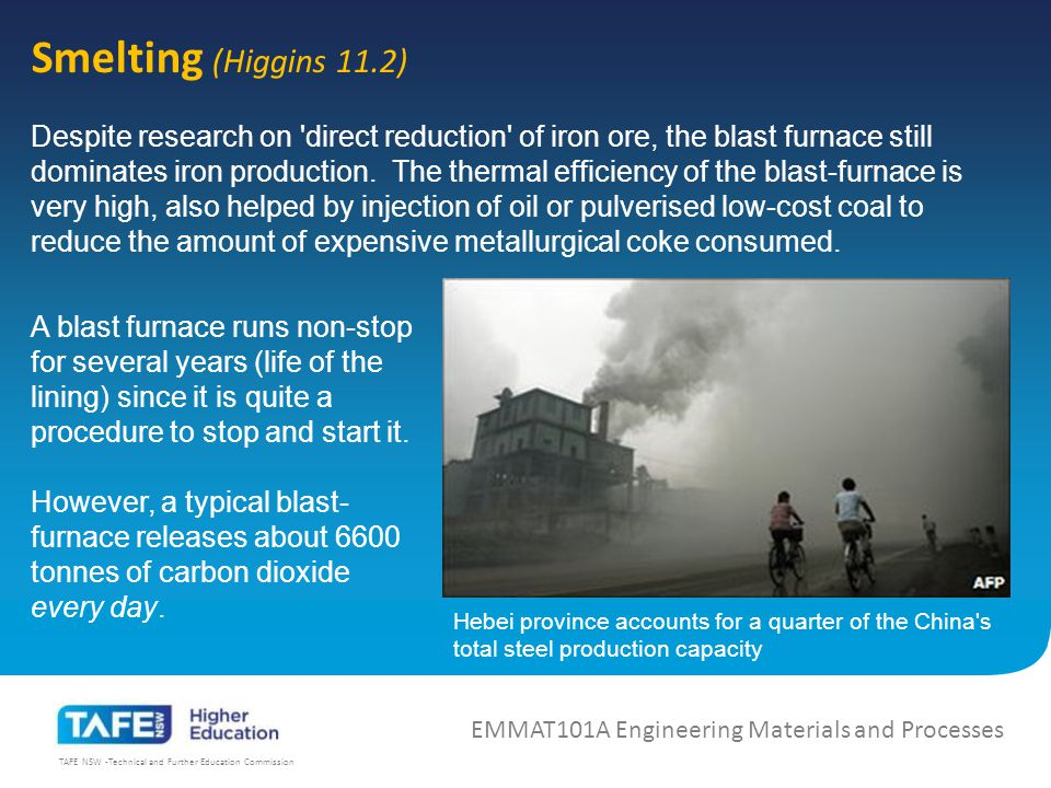 TAFE NSW -Technical and Further Education Commission 0.4 % C EMMAT101A Engineering Materials and Processes These then are the main stages in the foregoing process of solidification and cooling of the 0.4 per cent carbon steel: 1 Solidification is complete at Si and the structure consists of uniform austenite.