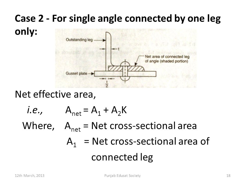 Case 2 - For single angle connected by one leg only: Net effective area, i.e., A net = A 1 + A 2 K Where, A net = Net cross-sectional area A 1 = Net cross-sectional area of connected leg 12th March, 2013Punjab Edusat Society18
