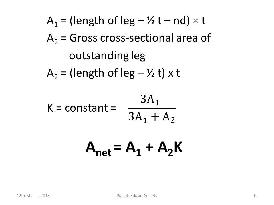 A 1 = (length of leg – ½ t – nd) × t A 2 = Gross cross-sectional area of outstanding leg A 2 = (length of leg – ½ t) x t K = constant = A net = A 1 + A 2 K 12th March, 2013Punjab Edusat Society19