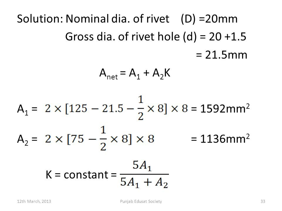 Solution: Nominal dia.of rivet (D) =20mm Gross dia.