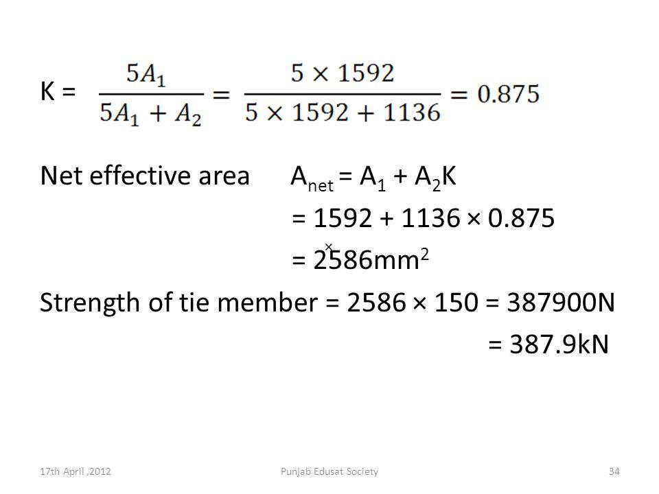 K = Net effective area A net = A 1 + A 2 K = 1592 + 1136 × 0.875 = 2586mm 2 Strength of tie member = 2586 × 150 = 387900N = 387.9kN 17th April,2012Punjab Edusat Society34 ×