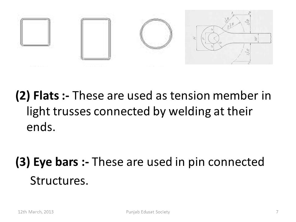 (2) Flats :- These are used as tension member in light trusses connected by welding at their ends.