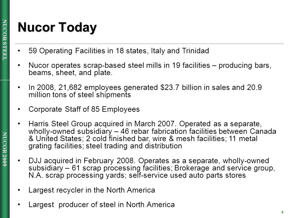 NUCOR 2009 6 NUCOR STEEL Nucor Today 59 Operating Facilities in 18 states, Italy and Trinidad Nucor operates scrap-based steel mills in 19 facilities – producing bars, beams, sheet, and plate.