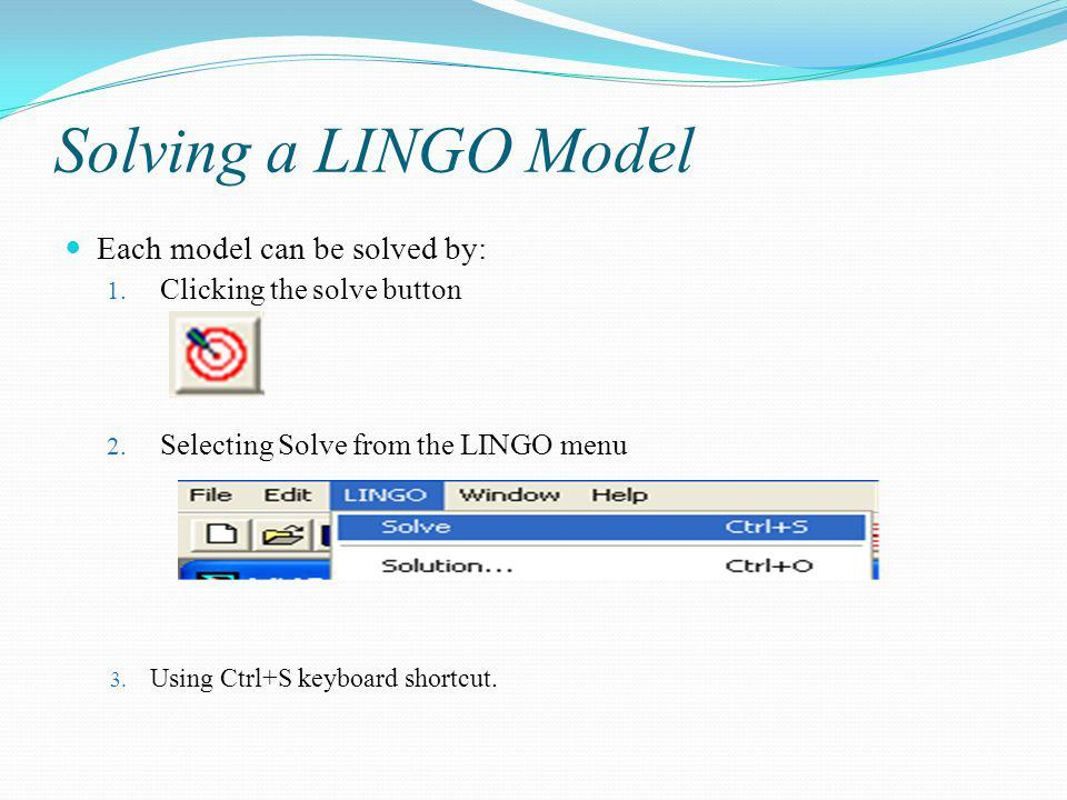 LINGO Solver Status Window If no errors are found, the LINGO solver status window appears: