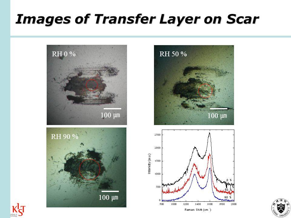 Images of Transfer Layer on Scar RH 0 % 100 RH 50 % 100 RH 90 % 100