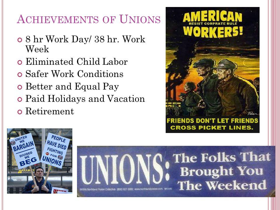A CHIEVEMENTS OF U NIONS 8 hr Work Day/ 38 hr.