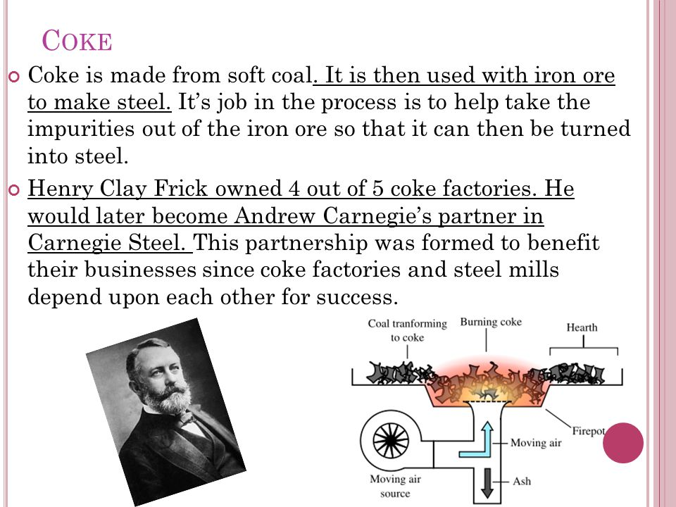 C OKE Coke is made from soft coal. It is then used with iron ore to make steel.