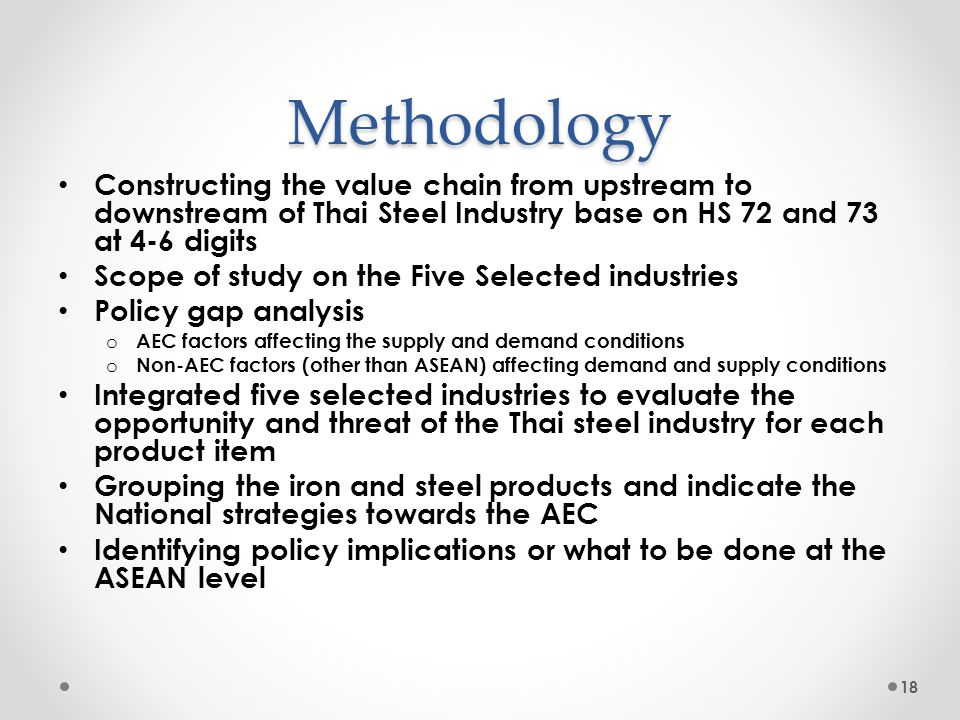 Methodology Constructing the value chain from upstream to downstream of Thai Steel Industry base on HS 72 and 73 at 4-6 digits Scope of study on the F