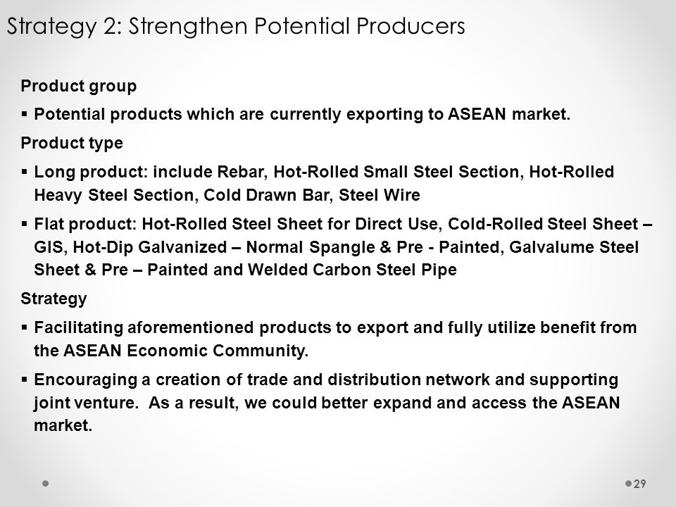 Strategy 2: Strengthen Potential Producers 29 Product group Potential products which are currently exporting to ASEAN market. Product type Long produc