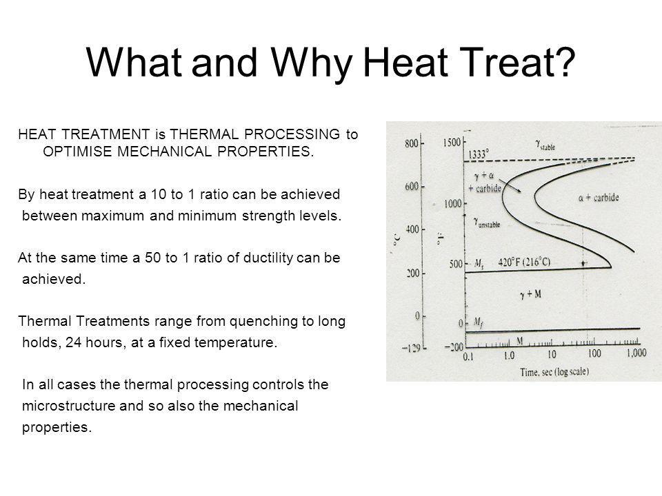 What and Why Heat Treat? HEAT TREATMENT is THERMAL PROCESSING to OPTIMISE MECHANICAL PROPERTIES. By heat treatment a 10 to 1 ratio can be achieved bet