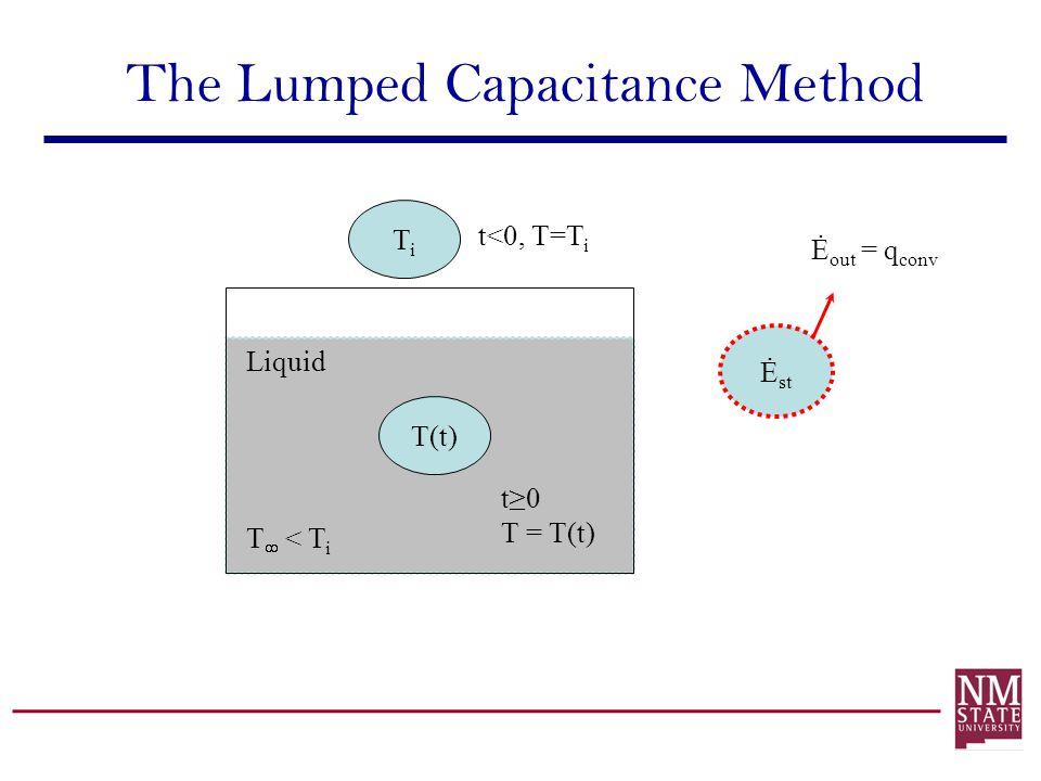 The Lumped Capacitance Method T(t) Liquid T < T i t0 T = T(t) TiTi t<0, T=T i Ė st Ė out = q conv