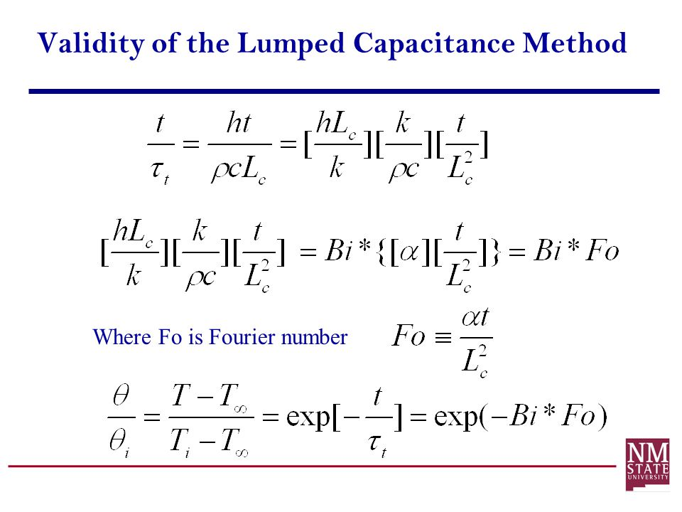 Validity of the Lumped Capacitance Method Where Fo is Fourier number