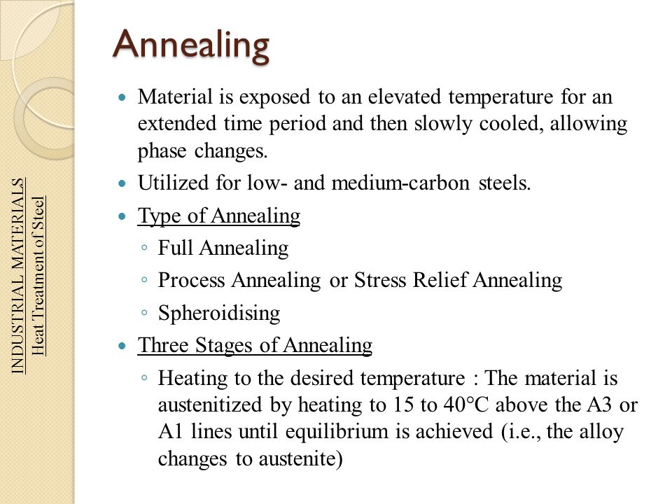Annealing Material is exposed to an elevated temperature for an extended time period and then slowly cooled, allowing phase changes. Utilized for low-