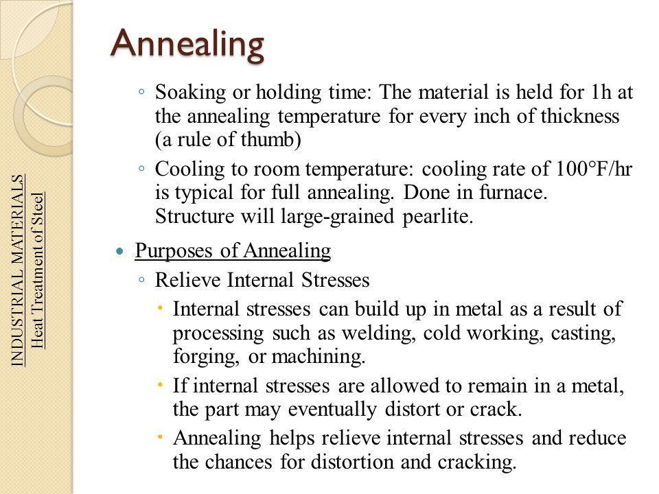 Annealing Soaking or holding time: The material is held for 1h at the annealing temperature for every inch of thickness (a rule of thumb) Cooling to r