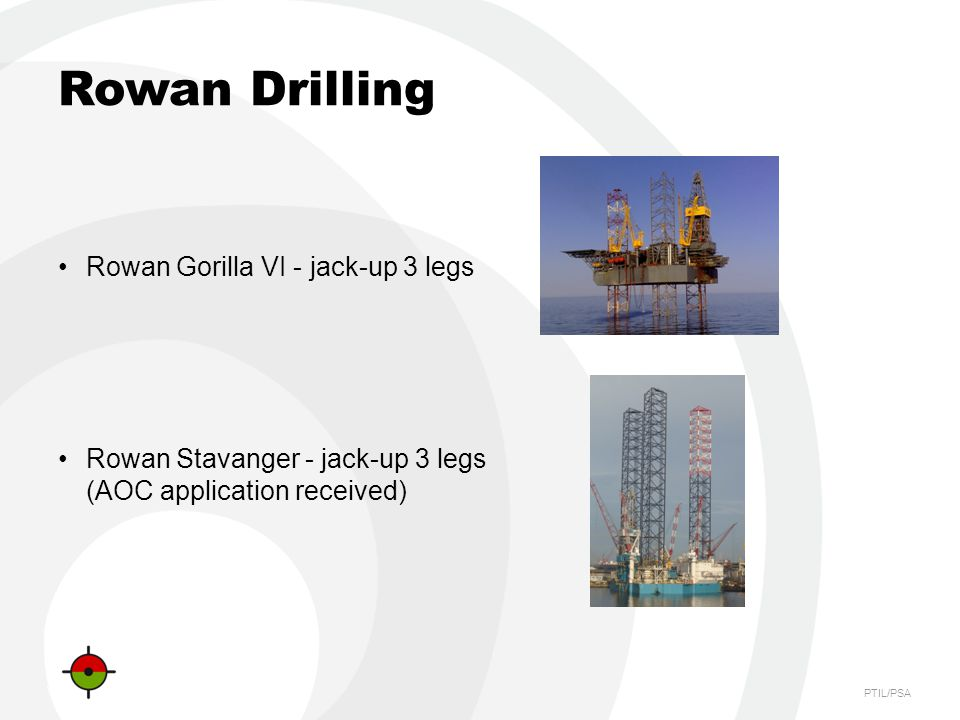 PTIL/PSA Rowan Drilling Rowan Gorilla VI - jack-up 3 legs Rowan Stavanger - jack-up 3 legs (AOC application received)