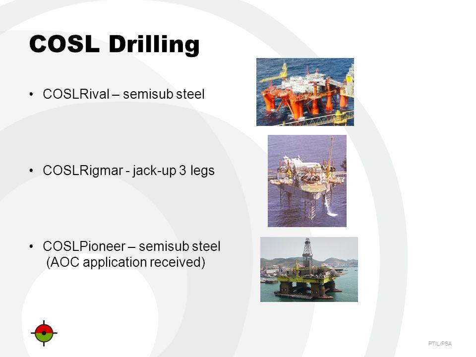 PTIL/PSA COSL Drilling COSLRival – semisub steel COSLRigmar - jack-up 3 legs COSLPioneer – semisub steel (AOC application received)
