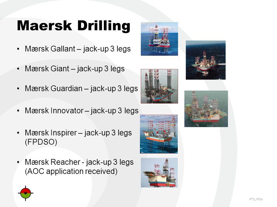 PTIL/PSA Maersk Drilling Mærsk Gallant – jack-up 3 legs Mærsk Giant – jack-up 3 legs Mærsk Guardian – jack-up 3 legs Mærsk Innovator – jack-up 3 legs Mærsk Inspirer – jack-up 3 legs (FPDSO) Mærsk Reacher - jack-up 3 legs (AOC application received)