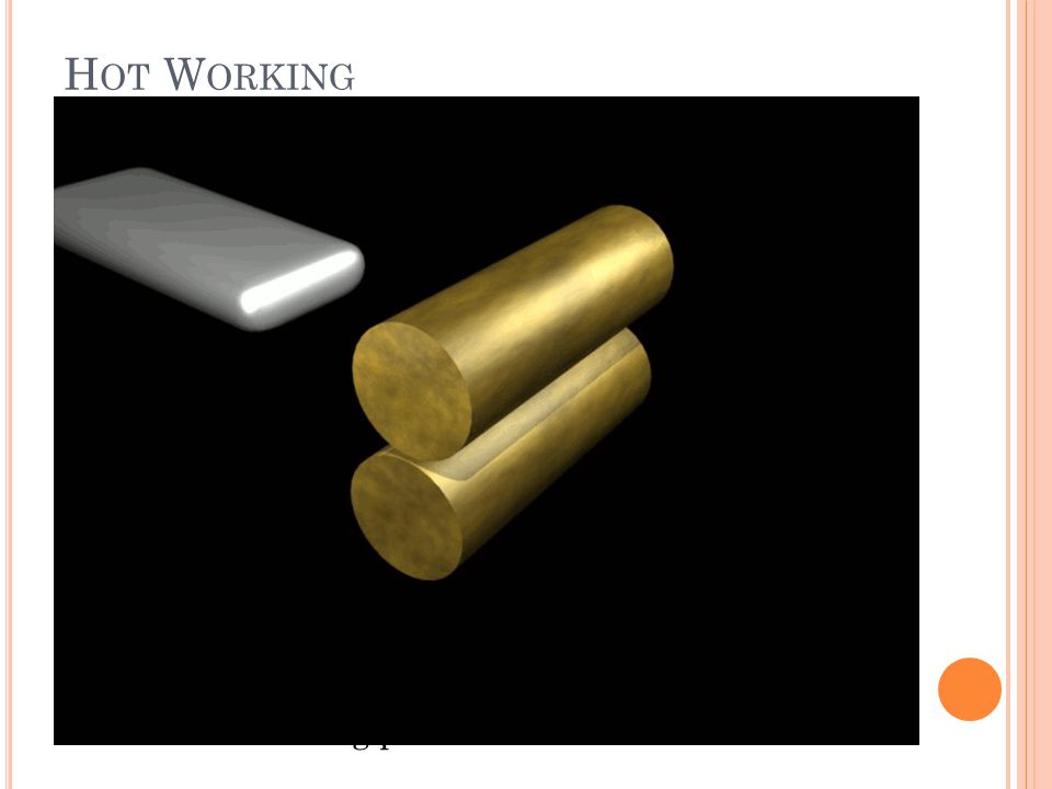 In metalworking, rolling is a metal forming process in which metal stock is passed through a pair of rolls.