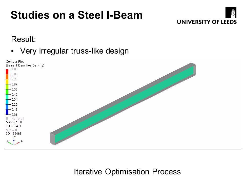 Studies on a Steel I-Beam Result: Very irregular truss-like design Iterative Optimisation Process