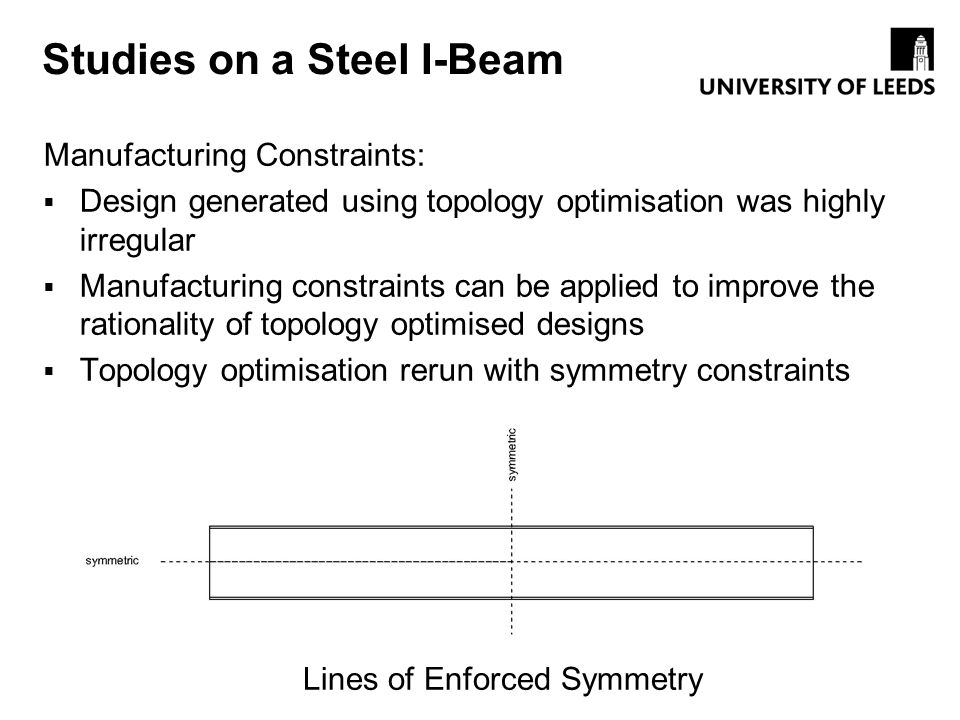 Studies on a Steel I-Beam Manufacturing Constraints: Design generated using topology optimisation was highly irregular Manufacturing constraints can b