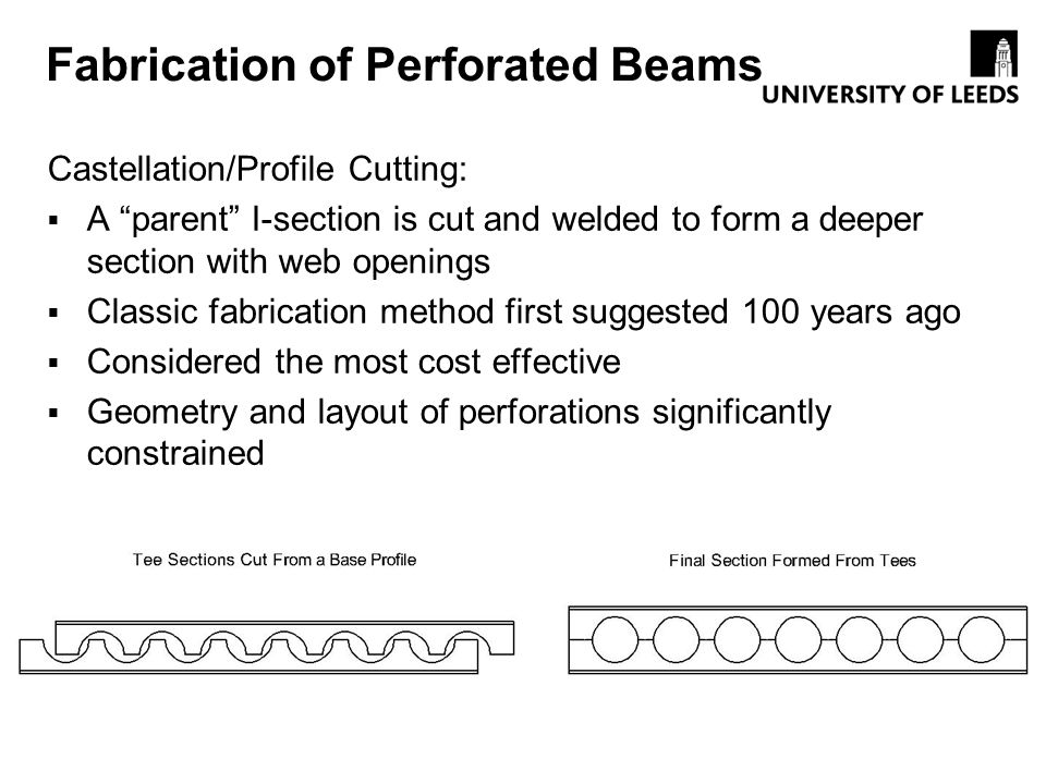 Fabrication of Perforated Beams Castellation/Profile Cutting: A parent I-section is cut and welded to form a deeper section with web openings Classic