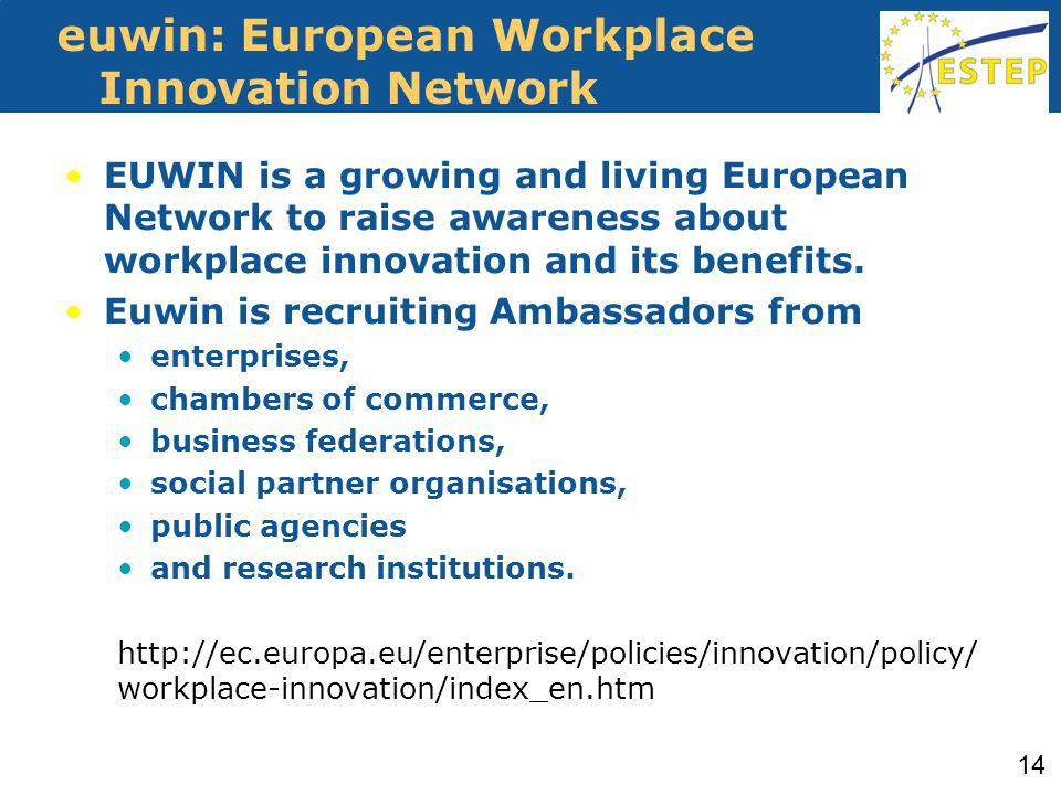 euwin: European Workplace Innovation Network EUWIN is a growing and living European Network to raise awareness about workplace innovation and its benefits.