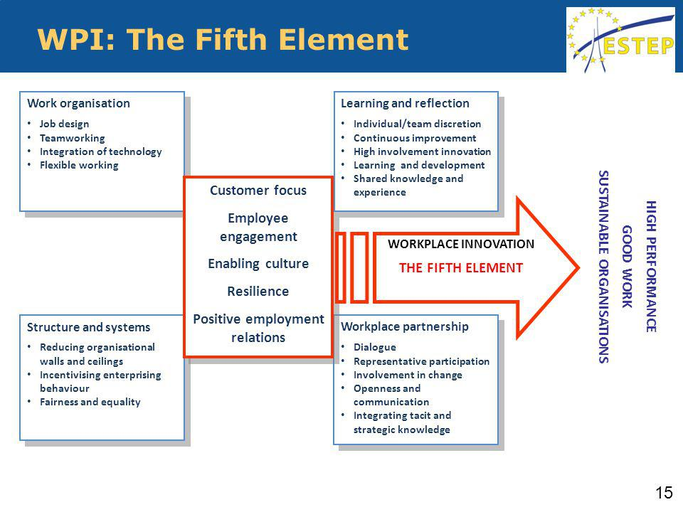 WPI: The Fifth Element Work organisation Job design Teamworking Integration of technology Flexible working Work organisation Job design Teamworking Integration of technology Flexible working Structure and systems Reducing organisational walls and ceilings Incentivising enterprising behaviour Fairness and equality Structure and systems Reducing organisational walls and ceilings Incentivising enterprising behaviour Fairness and equality Workplace partnership Dialogue Representative participation Involvement in change Openness and communication Integrating tacit and strategic knowledge Workplace partnership Dialogue Representative participation Involvement in change Openness and communication Integrating tacit and strategic knowledge Customer focus Employee engagement Enabling culture Resilience Positive employment relations Customer focus Employee engagement Enabling culture Resilience Positive employment relations HIGH PERFORMANCE GOOD WORK SUSTAINABLE ORGANISATIONS WORKPLACE INNOVATION THE FIFTH ELEMENT Learning and reflection Individual/team discretion Continuous improvement High involvement innovation Learning and development Shared knowledge and experience Learning and reflection Individual/team discretion Continuous improvement High involvement innovation Learning and development Shared knowledge and experience 15