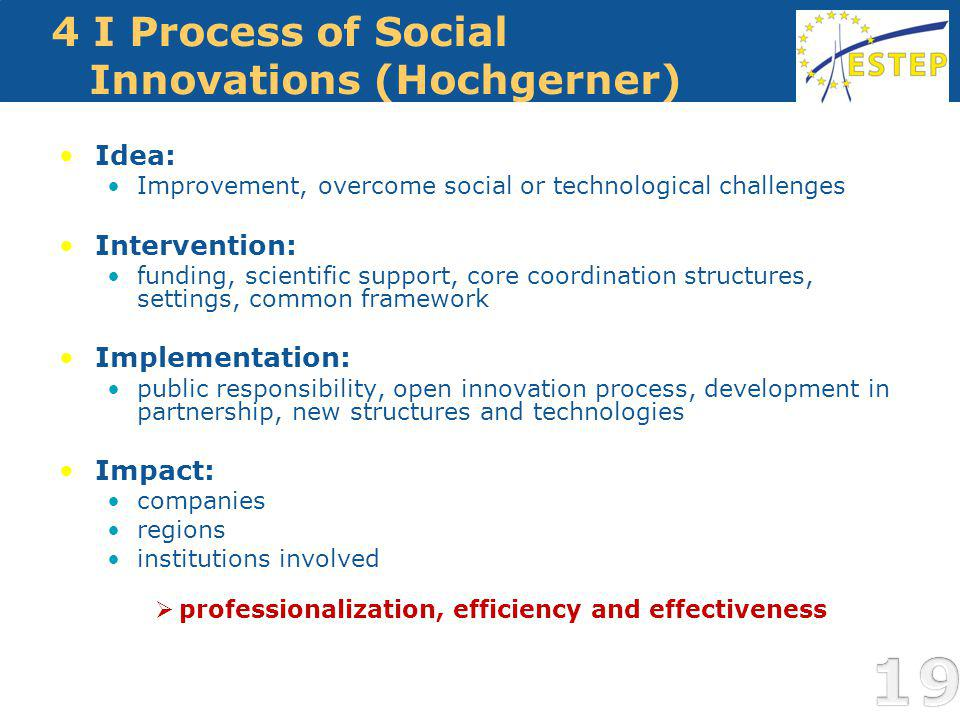 4 I Process of Social Innovations (Hochgerner) Idea: Improvement, overcome social or technological challenges Intervention: funding, scientific support, core coordination structures, settings, common framework Implementation: public responsibility, open innovation process, development in partnership, new structures and technologies Impact: companies regions institutions involved professionalization, efficiency and effectiveness 19