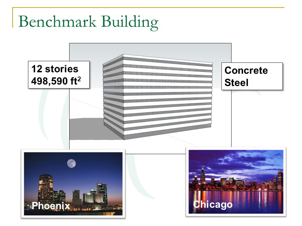 Benchmark Building Phoenix Chicago 12 stories 498,590 ft 2 12 stories 498,590 ft 2 Concrete Steel Concrete Steel