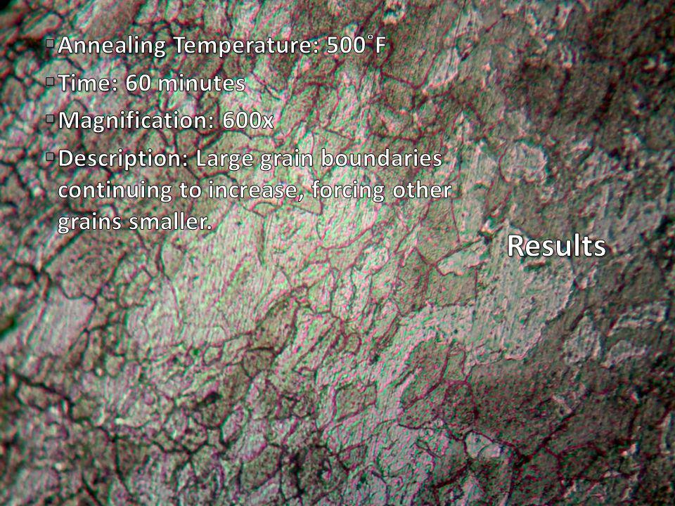 Annealing Temperature: Annealing Temperature: 500˚F Time: Time: 60 minutes Magnification: Magnification: 300x Description: Description: Large grain boundaries continuing to increase, forcing other grains smaller.