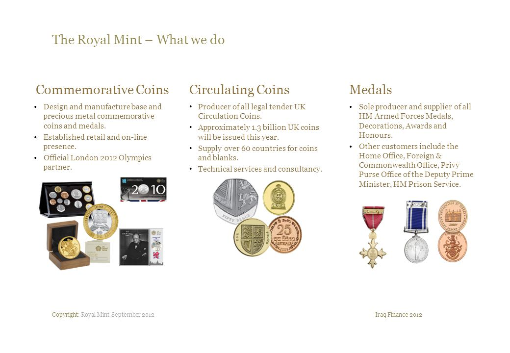 Copyright: Royal Mint September 2012 The Royal Mint Iraq Finance 2012 The Royal Mint is recognised as the world leading manufacturer of coins and medals.