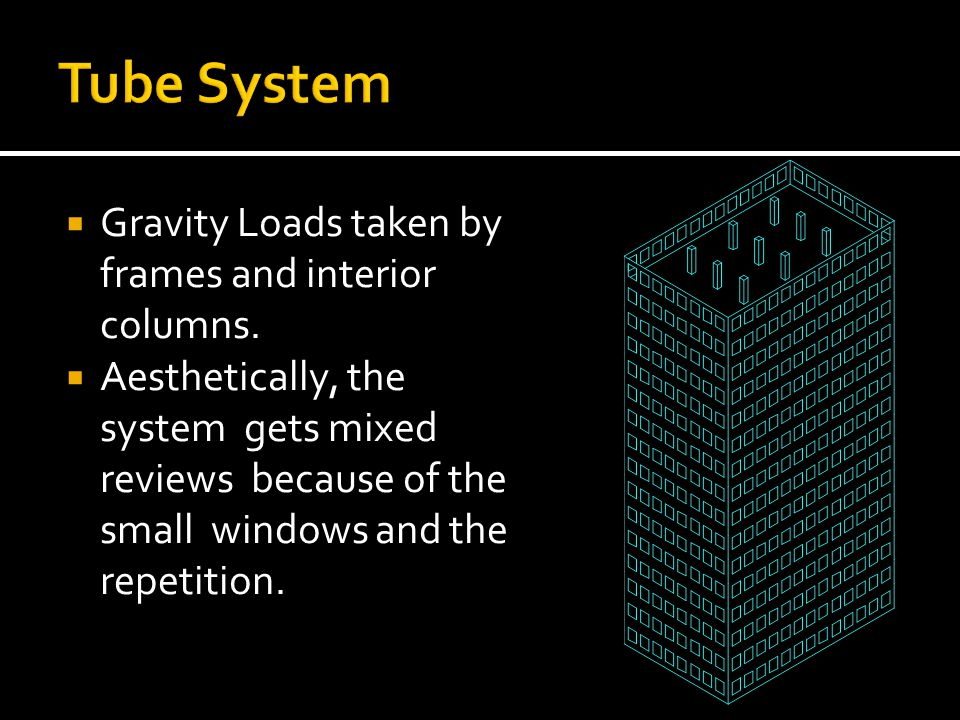 Gravity Loads taken by frames and interior columns. Aesthetically, the system gets mixed reviews because of the small windows and the repetition.