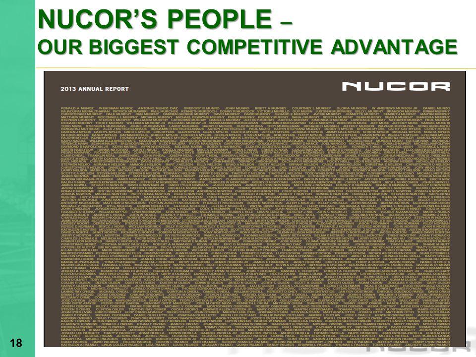 NUCORS PEOPLE – OUR BIGGEST COMPETITIVE ADVANTAGE 18