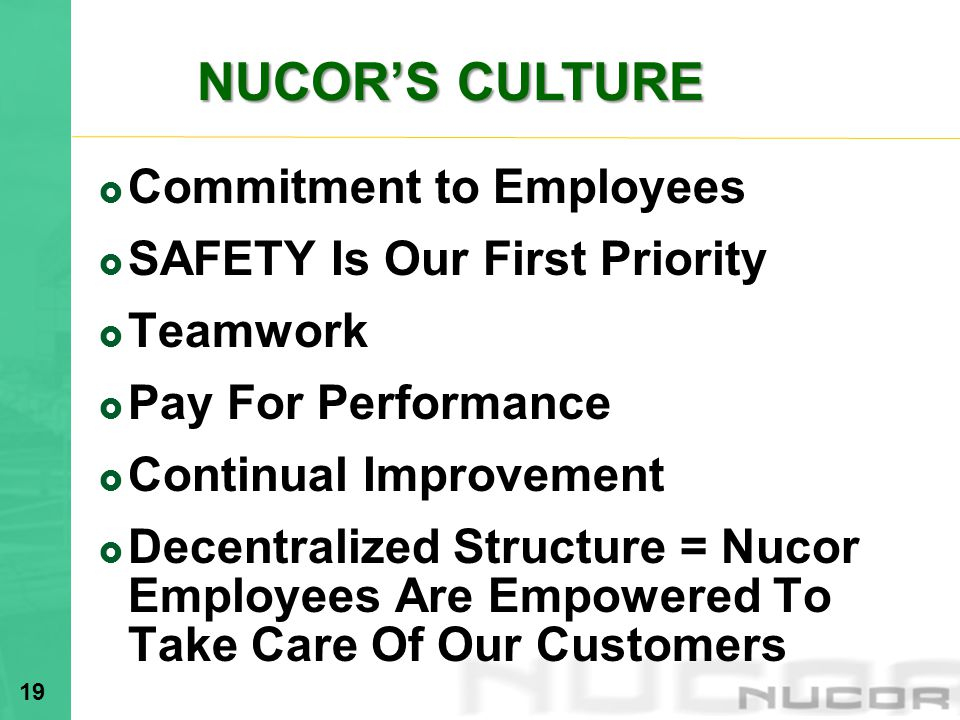 Commitment to Employees SAFETY Is Our First Priority Teamwork Pay For Performance Continual Improvement Decentralized Structure = Nucor Employees Are Empowered To Take Care Of Our Customers 19 NUCORS CULTURE NUCORS CULTURE