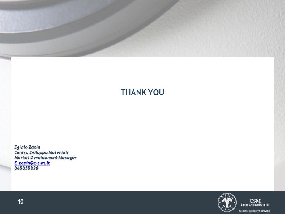 10 THANK YOU Egidio Zanin Centro Sviluppo Materiali Market Development Manager E.zanin@c-s-m.it 065055830
