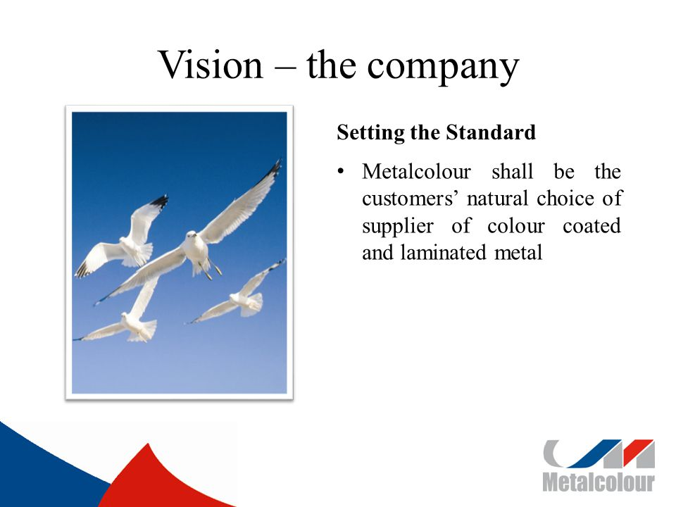 Vision – the company Setting the Standard Metalcolour shall be the customers natural choice of supplier of colour coated and laminated metal
