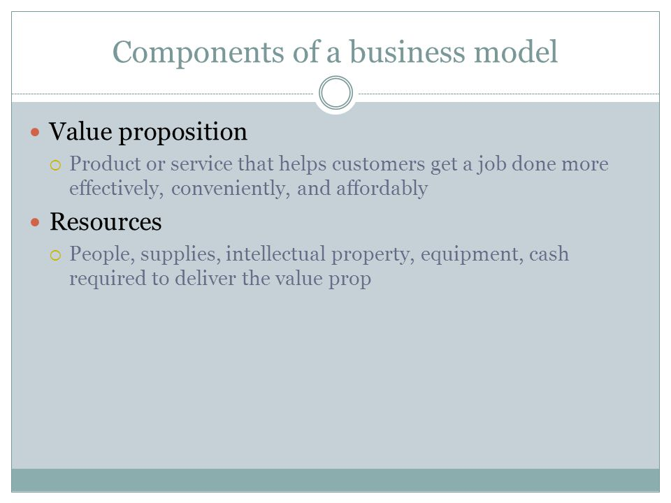 Components of a business model Value proposition Product or service that helps customers get a job done more effectively, conveniently, and affordably