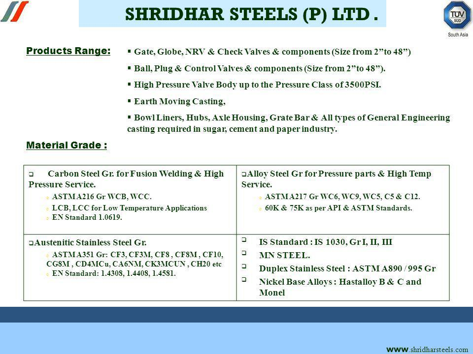 Material Grade : www.shridharsteels.com Products Range: Gate, Globe, NRV & Check Valves & components (Size from 2to 48) Ball, Plug & Control Valves & components (Size from 2to 48).