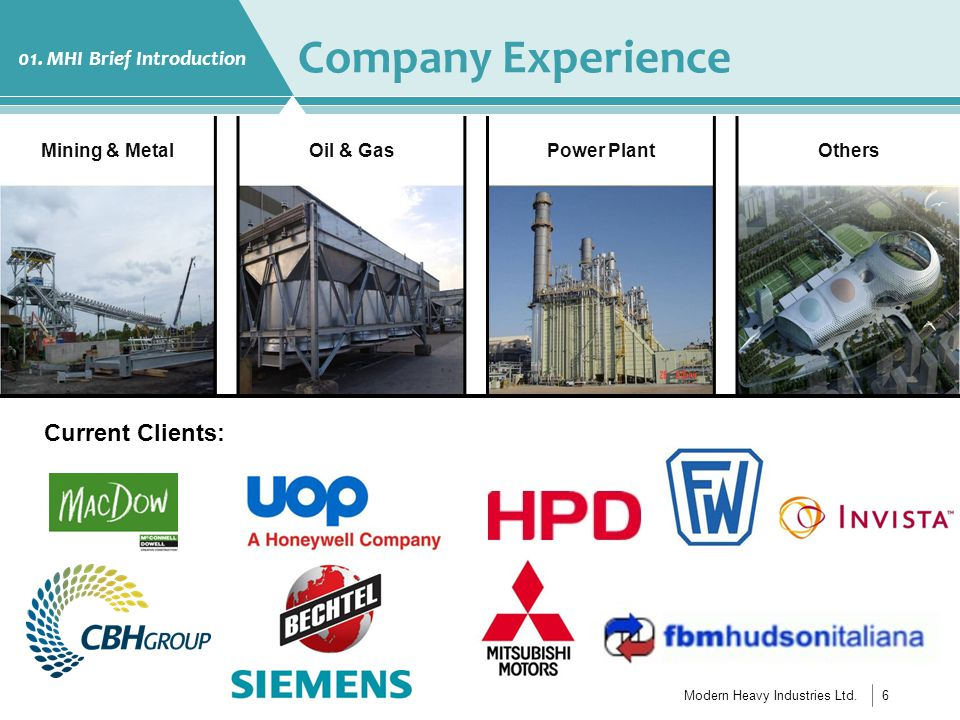 Modern Heavy Industries Ltd.7 Company Experience 01.