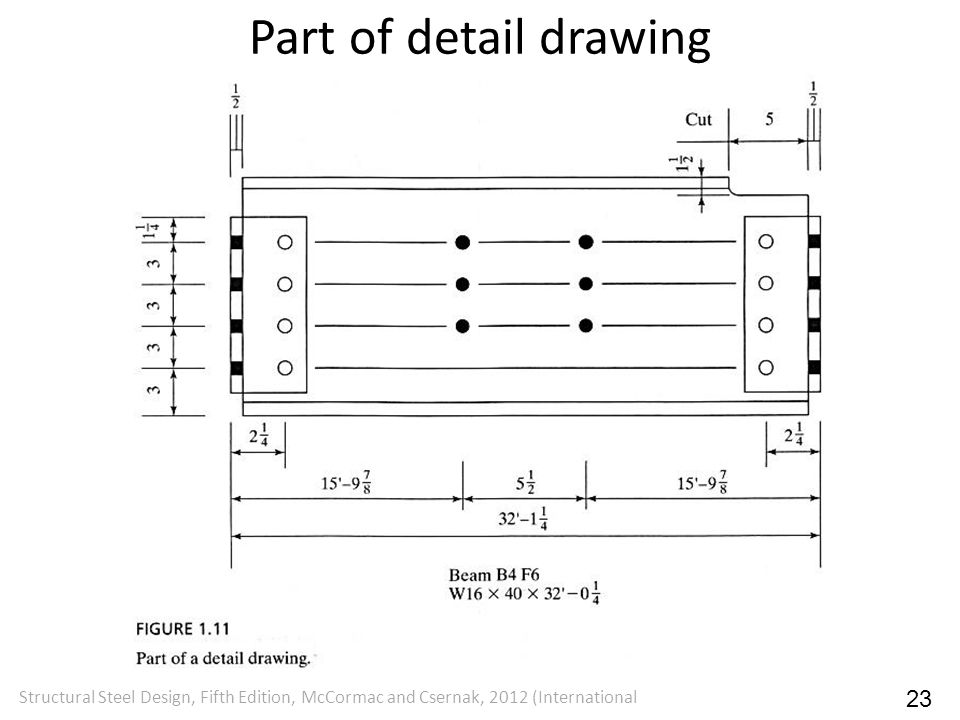 Part of detail drawing Structural Steel Design, Fifth Edition, McCormac and Csernak, 2012 (International 23
