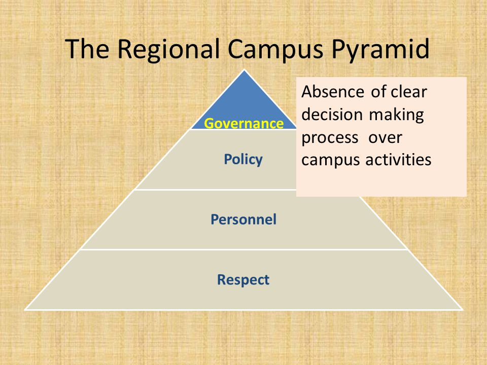 The Regional Campus Pyramid Governance Policy Personnel Respect Absence of clear decision making process over campus activities