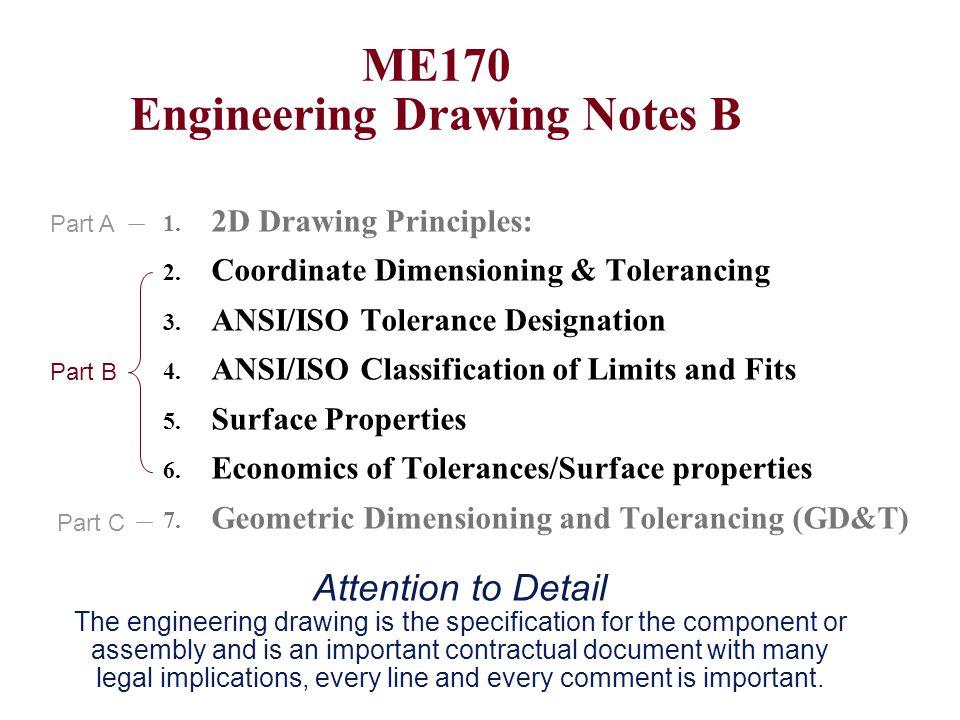 ME170 Engineering Drawing Notes B 1. 2D Drawing Principles: 2. Coordinate Dimensioning & Tolerancing 3. ANSI/ISO Tolerance Designation 4. ANSI/ISO Cla