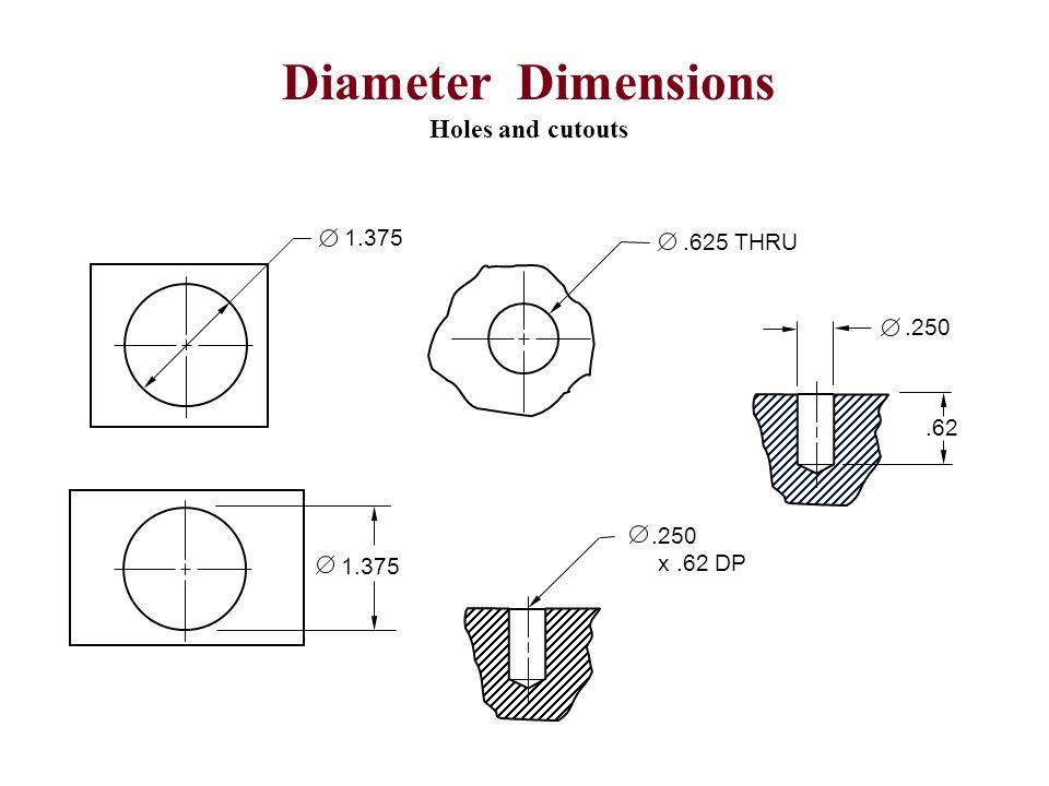 1.375.625 THRU.250.62.250 x.62 DP Diameter Dimensions Holes and cutouts