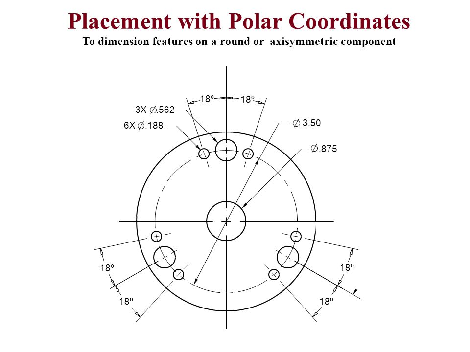 18º 3.50.875 3X.562 6X.188 Placement with Polar Coordinates To dimension features on a round or axisymmetric component