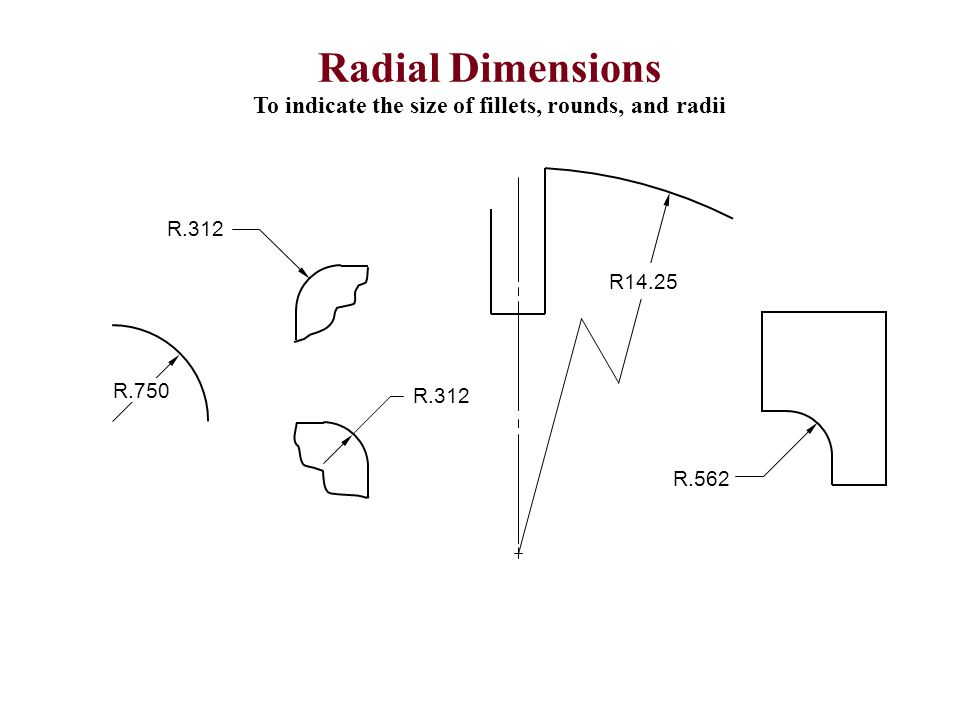 Radial Dimensions To indicate the size of fillets, rounds, and radii R.562 R.750 R.312 R14.25
