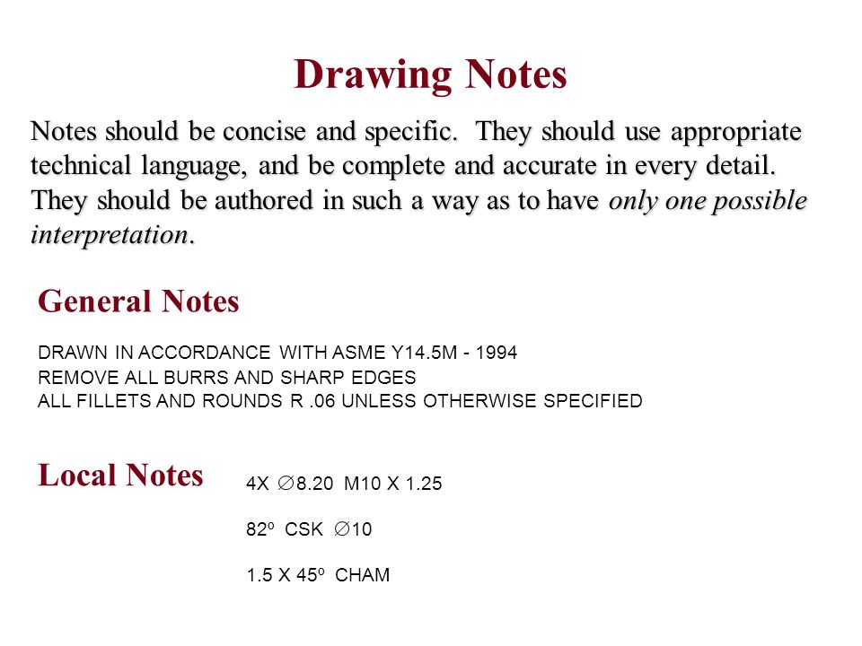 Drawing Notes DRAWN IN ACCORDANCE WITH ASME Y14.5M - 1994 REMOVE ALL BURRS AND SHARP EDGES ALL FILLETS AND ROUNDS R.06 UNLESS OTHERWISE SPECIFIED Note