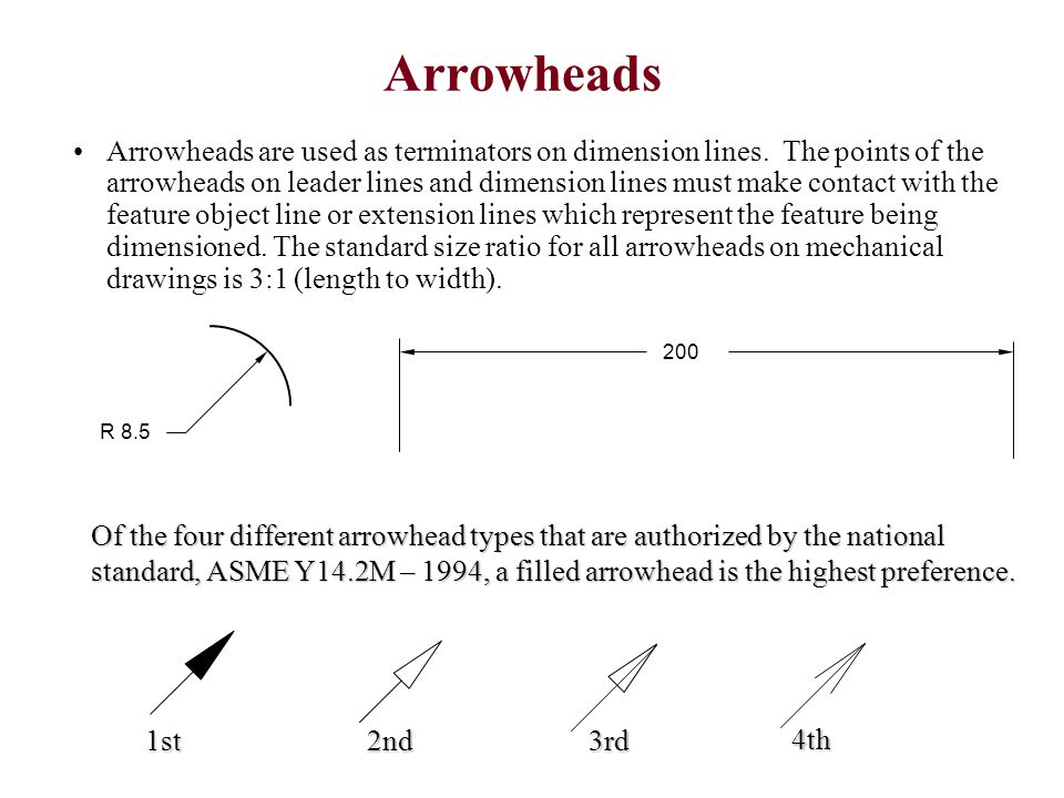 Arrowheads Arrowheads are used as terminators on dimension lines. The points of the arrowheads on leader lines and dimension lines must make contact w