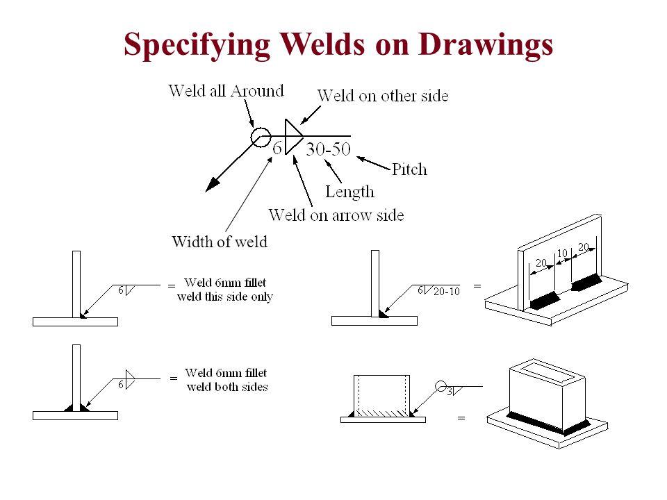 Specifying Welds on Drawings Width of weld