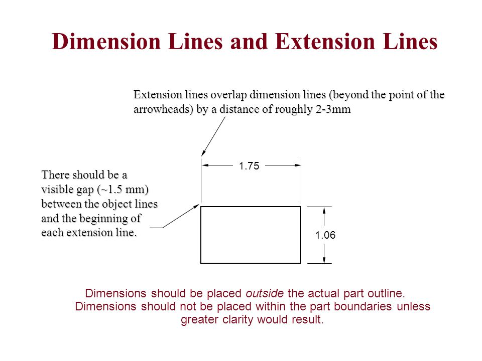 Arrows in / dimension in Arrows out / dimension in Arrows in / dimension out Arrows out / dimension out 2.562 1.250.750.500 Placement of Linear Dimensions Order of Preference When there is not enough room between the extension lines to accommodate either the dimension value or the dimension lines they can be placed outside the extension lines as shown in the fourth example (use Flip Arrows in ProE).