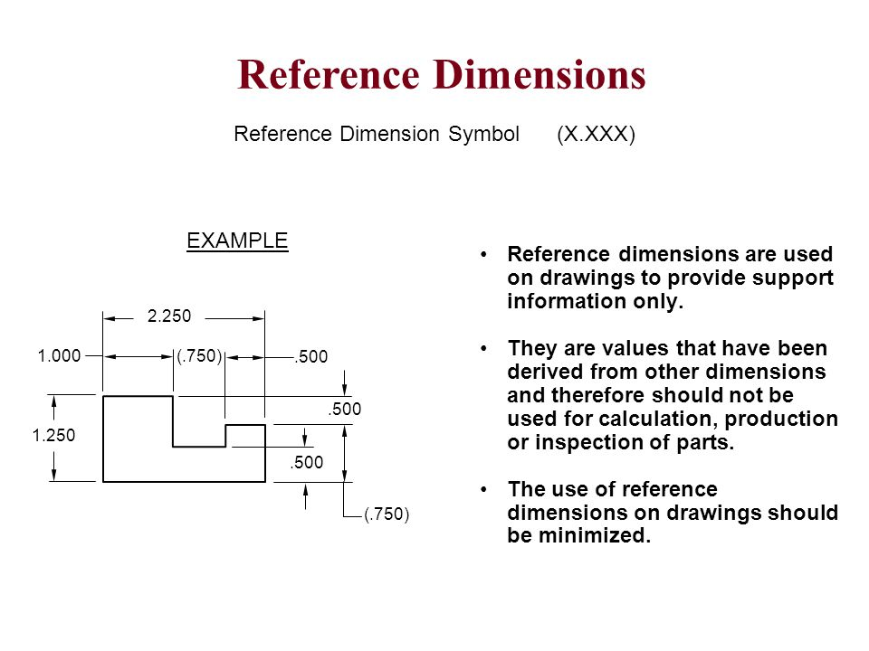 Reference Dimension Symbol (X.XXX) Reference dimensions are used on drawings to provide support information only. They are values that have been deriv